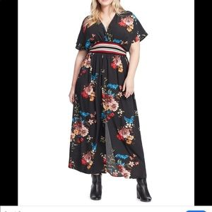 22 3X CITY CHIC Avery black floral bird maxi dress